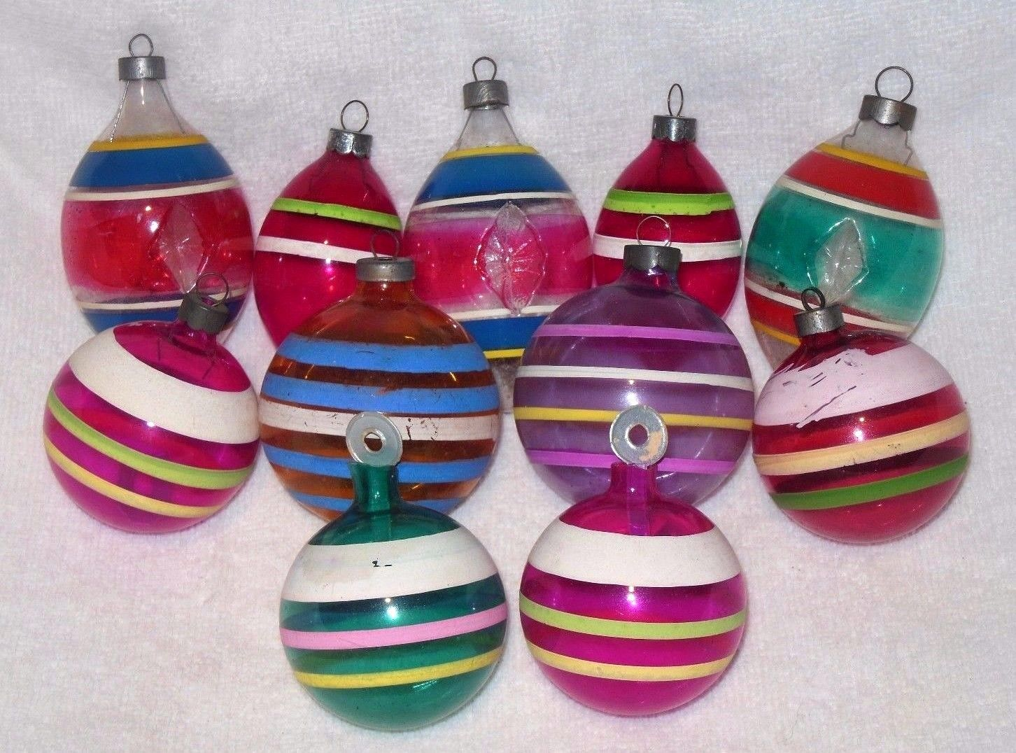 11 vintage premier unsilvered wwii glass christmas tree Vintage glass christmas tree ornaments