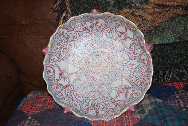 Gorgeous 14-in Bowl, numbered edition, hand-painted blue, pink a