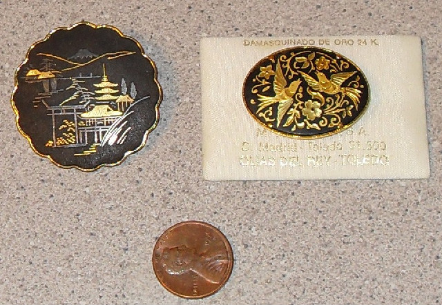 damascene pins gold inlay