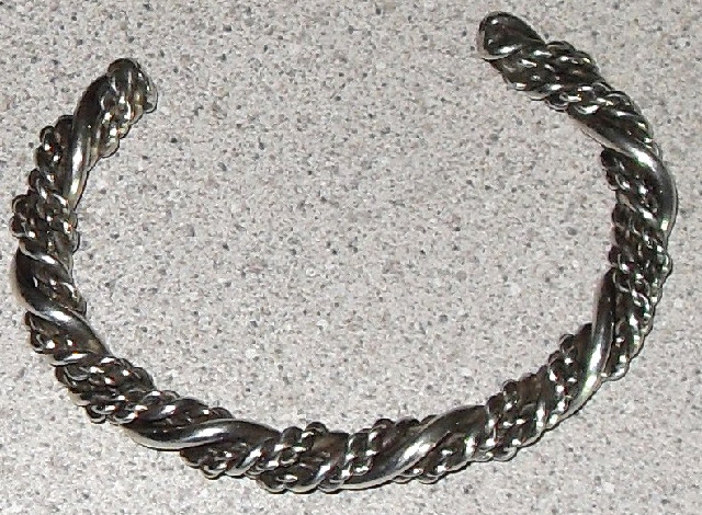 Native American heavy twisted silver bracelet
