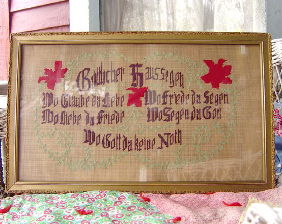 ANTIQUE PAPER SAMPLER/MOTTO GERMAN HOUSE BLESSING in GILT FRAME