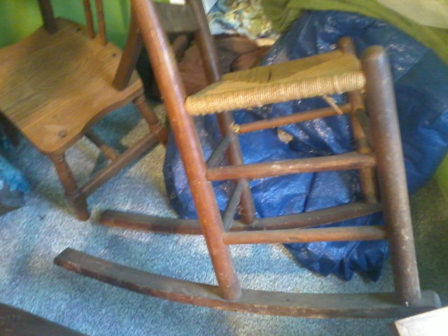 vintage wooden rocking chair cain bottom