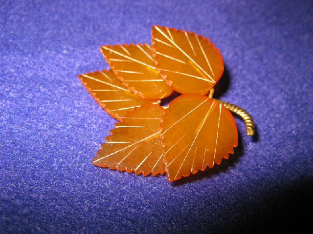 Beautiful Carved Baltic Amber Leaf Brooch
