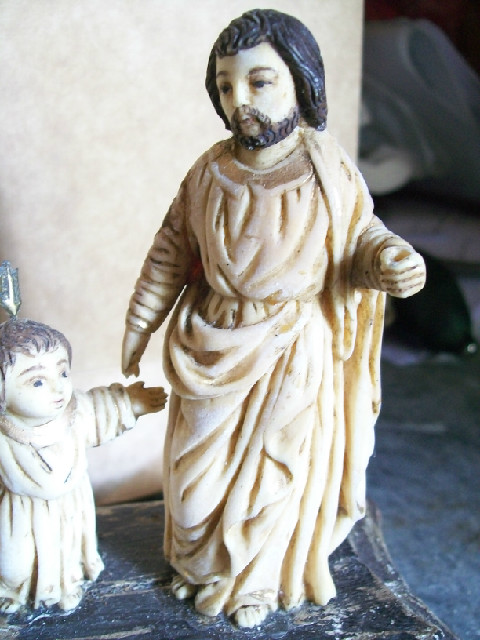 century old ivory image of holy family