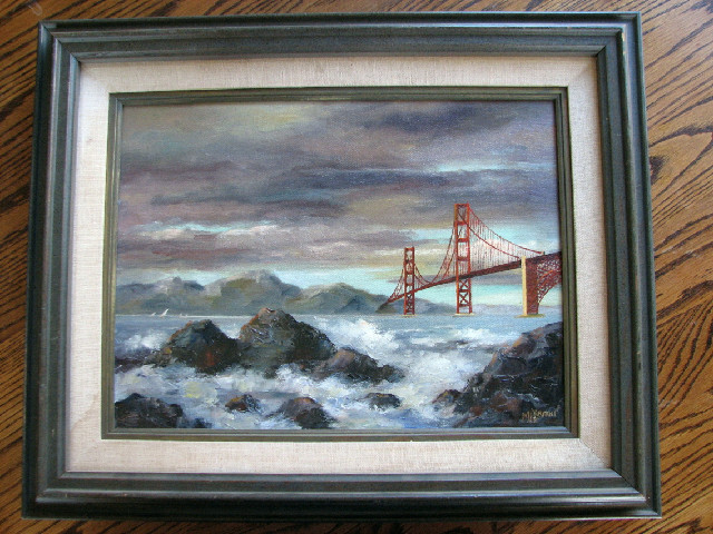"Mildred Bryant oil painting- ""Clouds Over Golden Gate Bridge"" Sa"