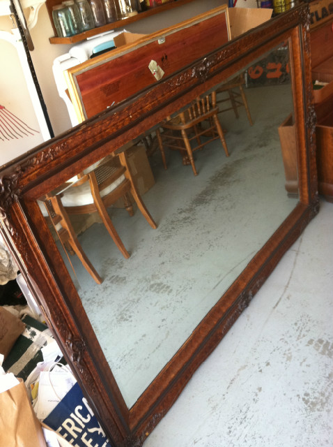 Beautiful Hand Carved Walnut 5 foot mirror beveled glass