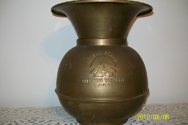 Vintage Brass Spittoon. Redskin Cut Plug Logo