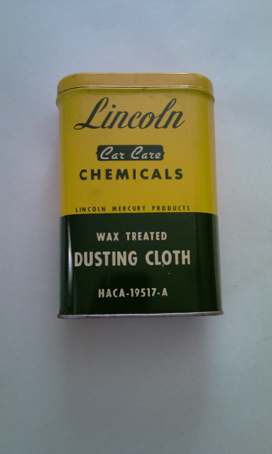 50's Lincoln Mercury Wax Treated Dusting Cloth Tin