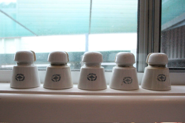 5 1950 Made in occupied Japan porcelain insulators