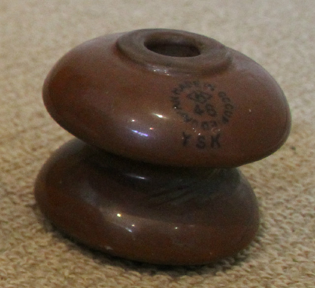 1948 Made in occupied Japan YSK brown porcelain insulator
