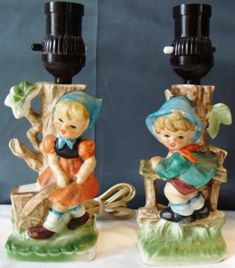 Beautiful Hummel-Like Boy and Girl Table LAMPS - Chase - Japan -