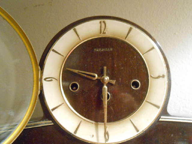 Walnut finish Tambour or 'Napoleon Hat', style clock.