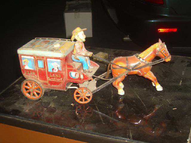 Cragstan Overland Stage Coach tin battery operated toy