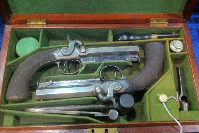 Cased Pair of English Percussion Pistols