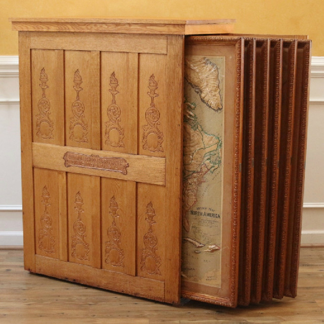 Antique Map Cabinet, Old School House, with 6 Relief Maps. Oak.