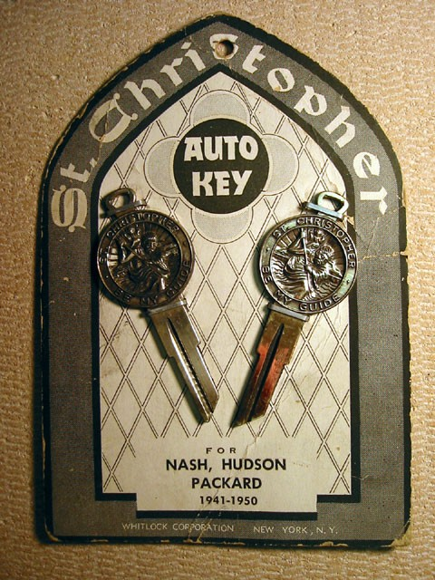 Nash, Hudson and Packard Crest Key Set with St. Christopher