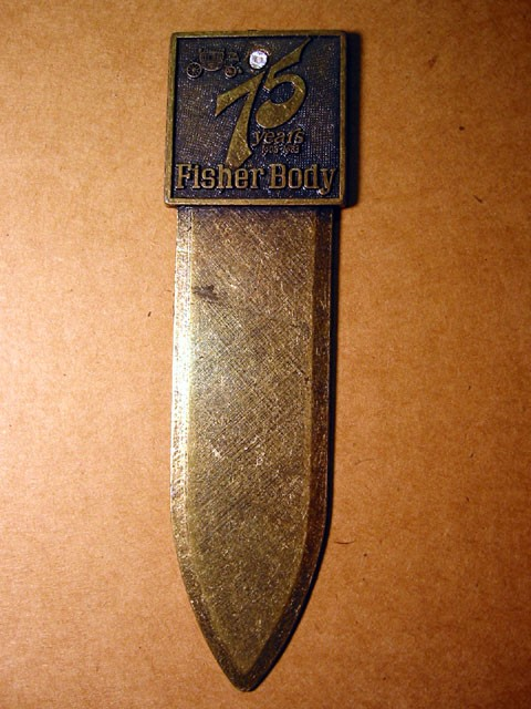 Letter Opener -- Fisher Body 75th Anniversary
