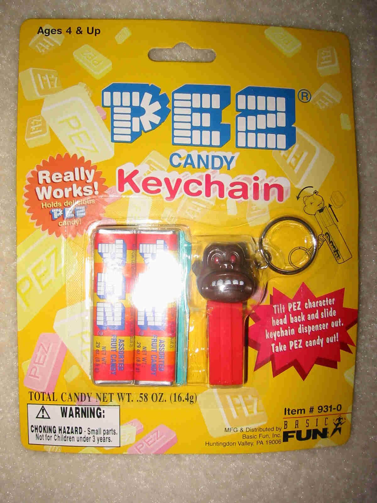 Pez Key Chain - Gorilla