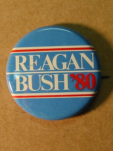 Political Button -- Reagan Bush 80'